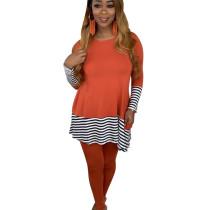 Orange Female Leisurewear Striped Patchwork Long T-Shirt Solid Pants ALS143