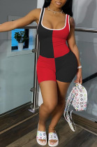 Black Red Casual Polyester Sleeveless Spliced Tank Jumpsuit CY1239