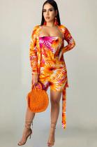 Orange Leaves Random Print Tube Dress TRS1009