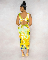 Tied-dye Yellow Deep V Neck Hollow-out Back Skinny Tank Dress BS1178