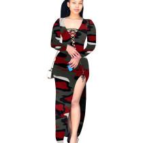 Wine Red Bandage Sexy High Split Multicolor Print Irregular Dress T3393