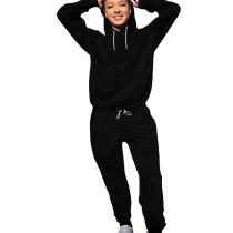 Black Running Drawstring Plain Color Sets Long Sleeve Hoodie Tight Pants YS321