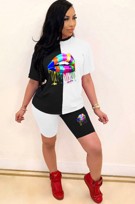 White Black Casual Mouth Graphic Short Sleeve Round Neck Tee Top Shorts Sets LML108