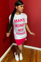 Pink Slogan Front Print Shirt Top & Shorts Sets WY6684