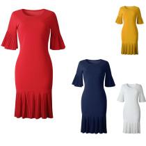Latest Pleated Solid Half Sleeve Women Dress AM298