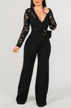 Black Plunging Neck Embroidered Trim Self Belted Wide Leg Jumpsuit JLX7004