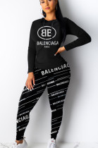 Black Casual Polyester Letter Long Sleeve Hoodie Long Pants Sets YYF8049