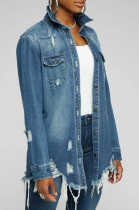 Casual Long Sleeve Lapel Neck Distressed Ripped Utility Blouse SMR9642