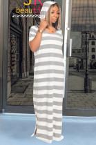 Light Gray Casual Polyester Striped Short Sleeve Round Neck Mid Waist Long Dress DM2250