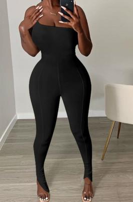 Black Sexy Polyester One Shoulder Jag Cami Jumpsuit GL6279