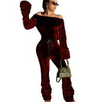 Wine Red Mature Women Strapless Pleated Solid Color Warm Jumpsuit OMY8008