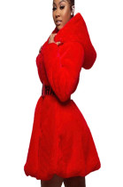 Red Goose Feather Hoodie Coat with Self-Belted A8535