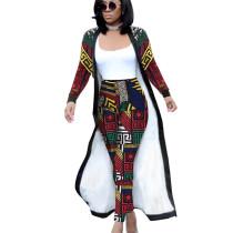 Red Printed Female Sets Long Sleeves Jackets+Bodycon Leggings QQM3535
