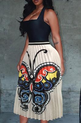 Butterfly Graphic Print White Ruffles Skirt OMY8028