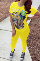 Yellow Casual Polyester Cartoon Graphic Short Sleeve Round Neck Ruffle Tee Top Long Pants Sets OMY8030