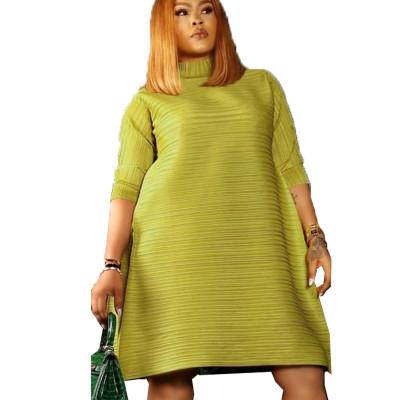 Glass Green TurtleNeck Short Sleeve Ankle-Length Dress N9190