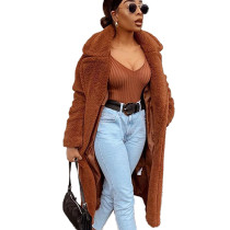 Leisure Winter Female Long Style Thicken Brown Solid Coat ZS0236
