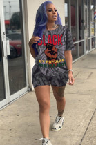 Black Casual Polyester Tie Dye Short Sleeve Round Neck Tee Top Shorts Sets TRS1036