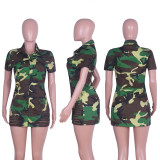 Wholesale Sexy Camouflage Botton Mini Dress Q292