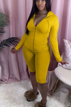 Yellow Casual Polyester Long Sleeve Hoodie Shorts Sets BS1208