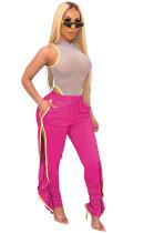 Rose Red Shirred Details Elastic Skinny Flounce Split Stripe Side Pants CYF3544