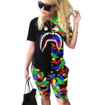 Colorful Fashion Print T Shirts Midi Shorts Sports Outfits N9107