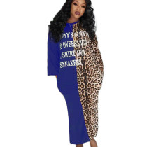Blue Casual Letters Patchwork Leopard Print Split Long Dress TK6046