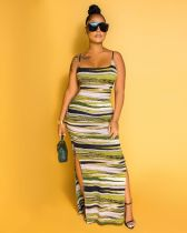 Green Color Panel Split Side Cami Long Dress BS1177