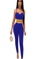 Blue Split Wrap Waist Bodycon Jumpsuit Pants Set ME2793