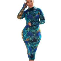 Euramerican Slim Bodycon Winter Round Collar Printing Dress KK8177