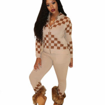 Apricot Winter Street Style Bodycon Checks Patchwork Casual Outfits E8477