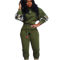 Green Long Sleeve Top Pencil Pants Casual Printing Splicing Outfits ORY5144