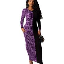 Purple Wholesale Price Ladies Printed Splicing Ankle Length Dress YMT6118