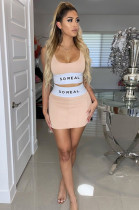 Pink Casual Polyester Letter Sleeveless Scoop Neck Tank Top Above Knee / Short Skirt MR2028