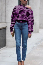 Purple Casual Polyester Camo Long Sleeve Tee Top FH061