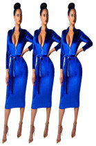Elegant Bodycon Long Sleeves Midi Dress MDO8033