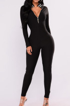 Black Casual Polyester Striped Long Sleeve Bodycon Jumpsuit BBN028