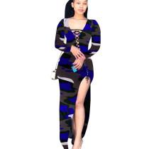 Blue Bandage Sexy High Split Multicolor Print Irregular Dress T3393
