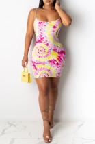 Pink Sexy Polyester Sleeveless Spaghetti Strap Open Back Slip Dress SDD9268
