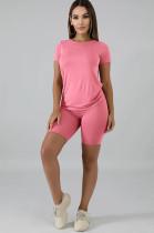 Pink Solid Color Bodycon Short Sets QQM3998