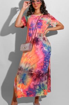 Pink Casual Polyester Tie Dye Short Sleeve Round Neck Split Hem High Waist Long Dress AL113
