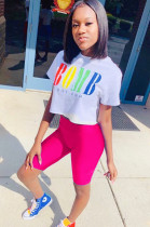 Pink Casual Polyester Letter Short Sleeve Round Neck Tee Top Capris Pants Sets FM6077