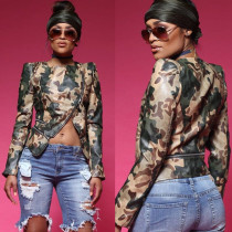 Unique Camouflage Leather Women Jacket BN9138