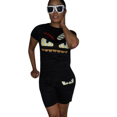 Black Casual Fashion Cartoon Print Plus Size 3XL Sports Outfits H1139