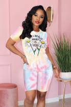 Daisy & Slogon Front Print Shorts Sets FM6122