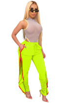 Green Shirred Details Elastic Skinny Flounce Split Stripe Side Pants CYF3544
