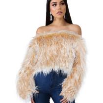 Yellow Fashion Ladies Artificial Furs Off Shoulder Winter Short Top ZS0250
