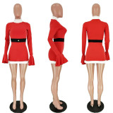 Christmas Fashion High Waist Flared Sleeve Party Pencil Dress MN8086