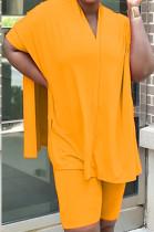 Orange Casual Polyester Batwing Sleeve V Neck Tee Jag Top Shorts Sets MR2047