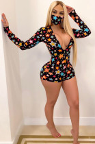 Black Sexy Polyester Star Graphic Long Sleeve Deep V Neck Bodycon Jumpsuit FM6129